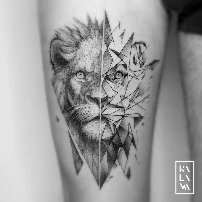 black and white photo, lion head separated in two, one half geometrical, lion hand tattoo, thigh tattoo