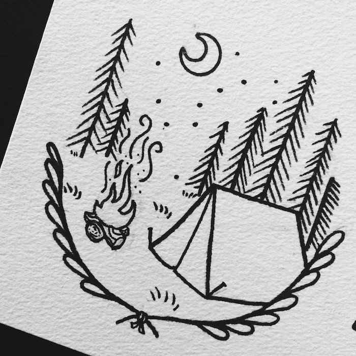 forest landscape, cute things to draw, tent with fire in front of it, moon in the sky, tall trees in the background, black and white drawing
