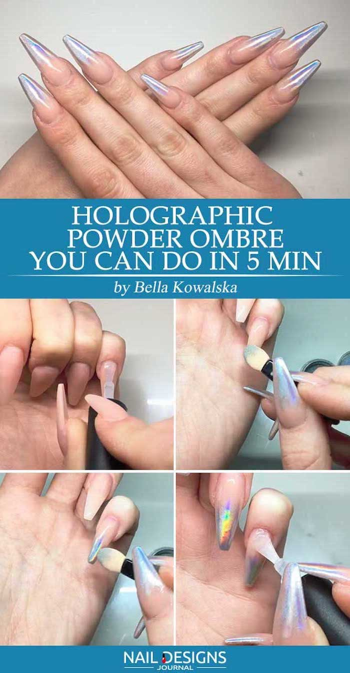 nude ombre nails, holographic powder ombre, step by step diy tutorial, nude to silver glitter gradient nail polish