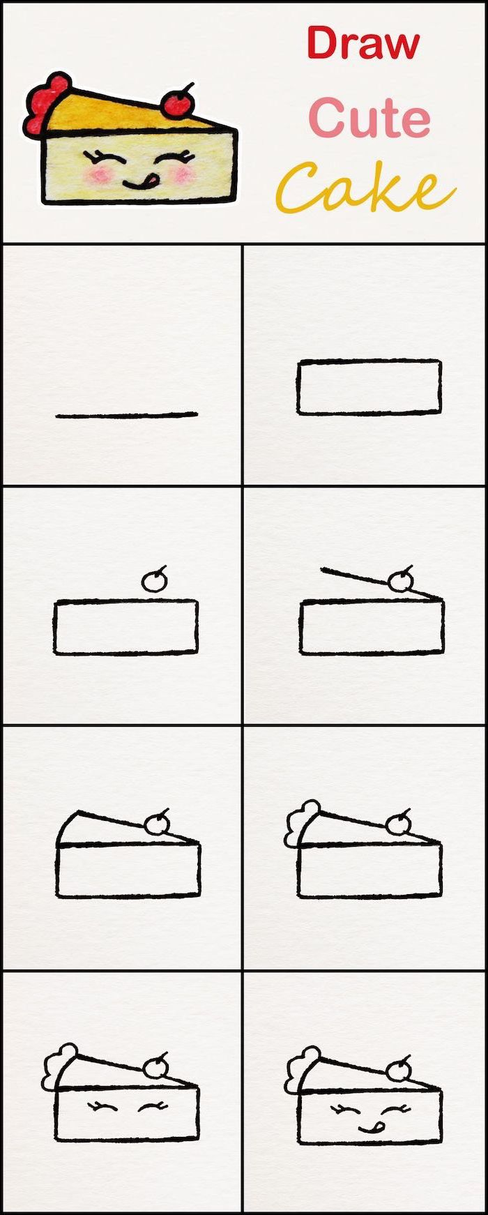 how to draw a cake slice, cool easy drawings, step by step diy tutorial, sketch on white background