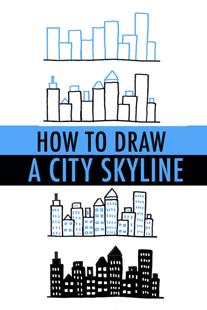how to draw a city skyline, cute and easy drawings, step by step diy tutorial, white background