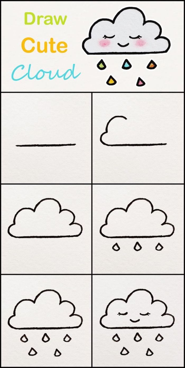 how to draw a cloud, step by step diy tutorial, cool easy drawings, photo collage on white background