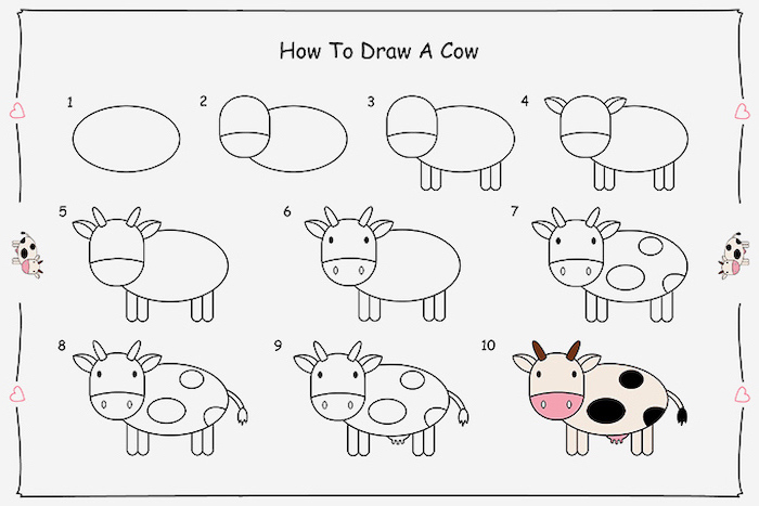 how to draw a cow, step by step diy tutorial, cute and easy drawings, white background