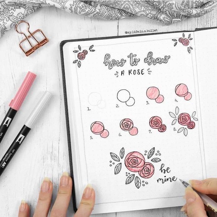 drawing in a notebook, how to draw a rose, cute kawaii drawings, step by step diy tutorial
