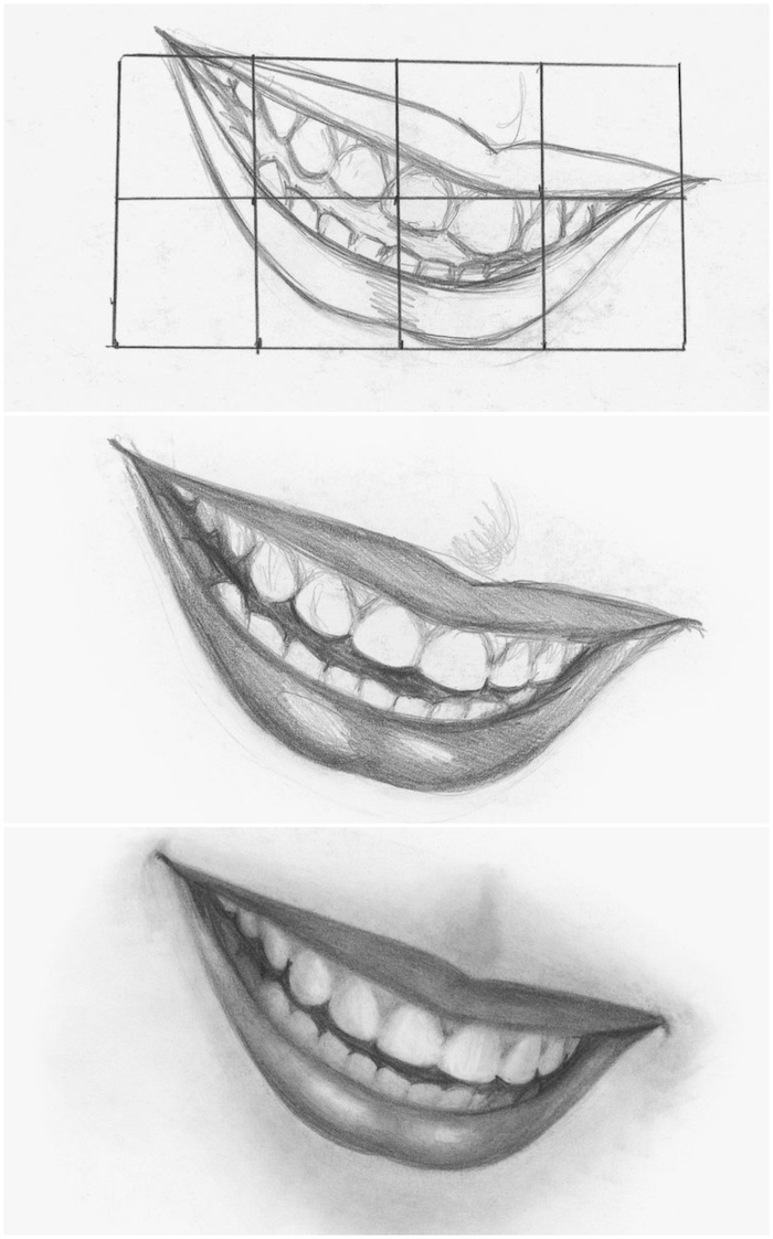 how to draw a female smile, step by step diy tutorial, cool easy drawings, black and white pencil sketch