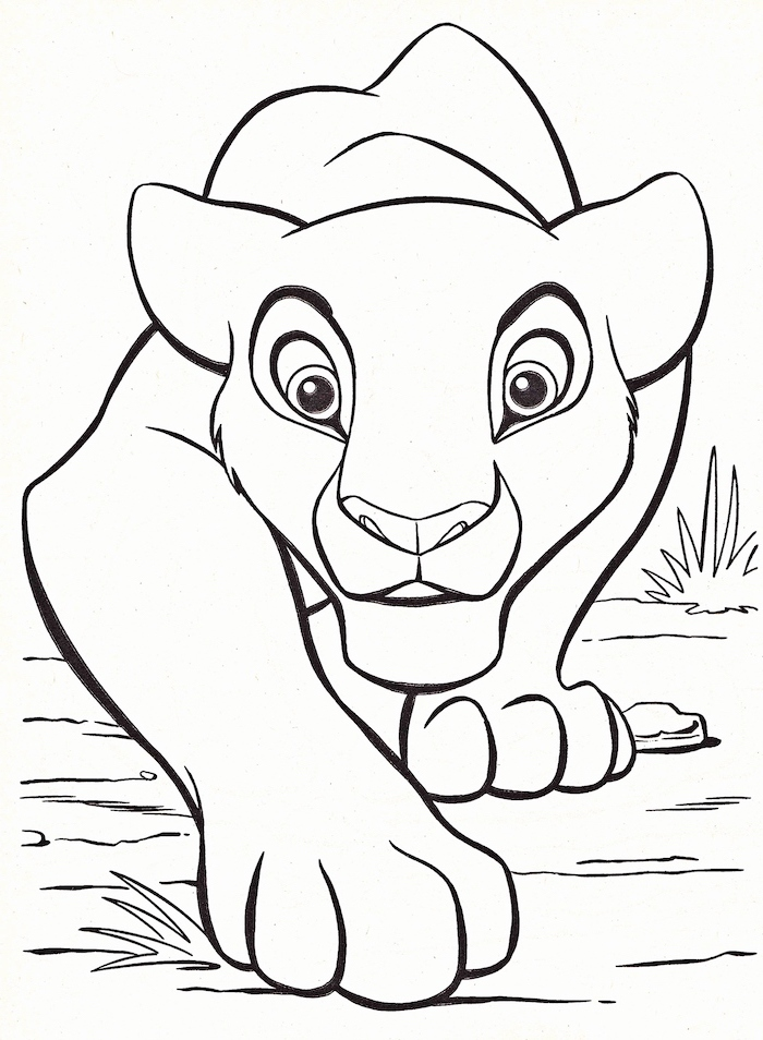 simba from lion king, black and white pencil sketch, cute kawaii drawings, white background