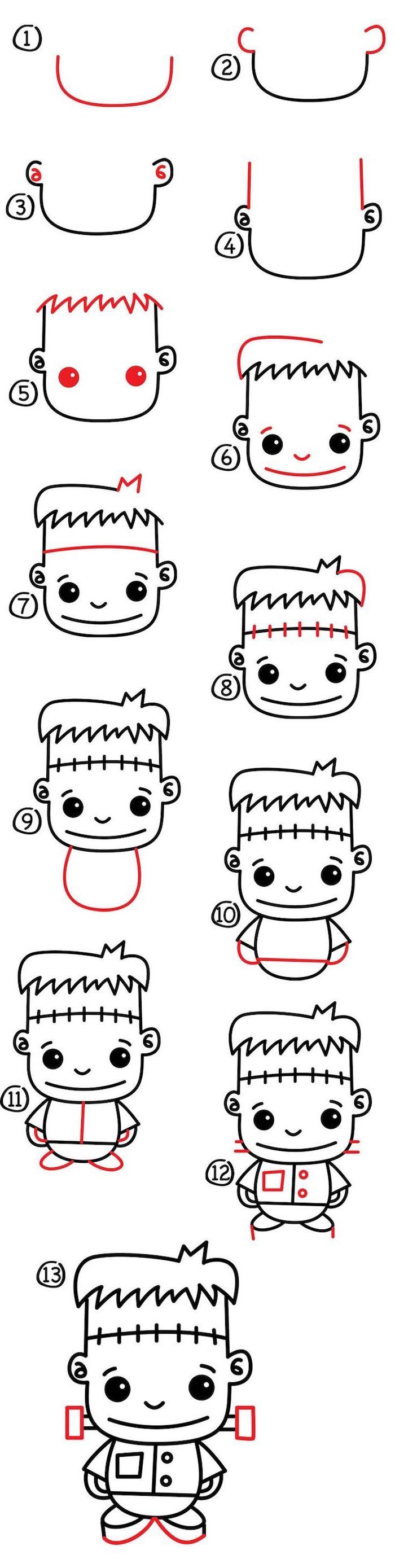 cute kawaii drawings, how to draw frankenstein, step by step diy tutorial, white background