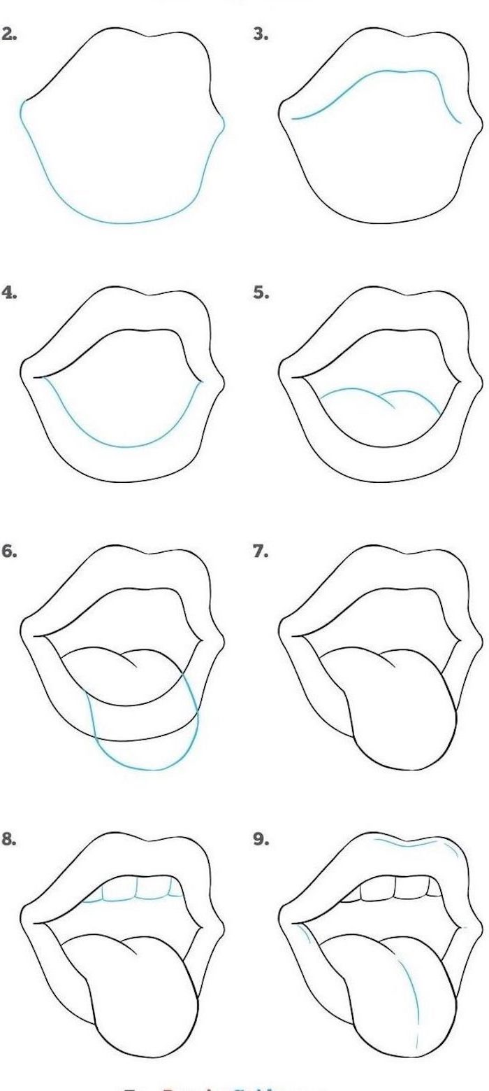 how to draw lips with tongue sticking out, step by step diy tutorial, sketch on white background, easy animals to draw