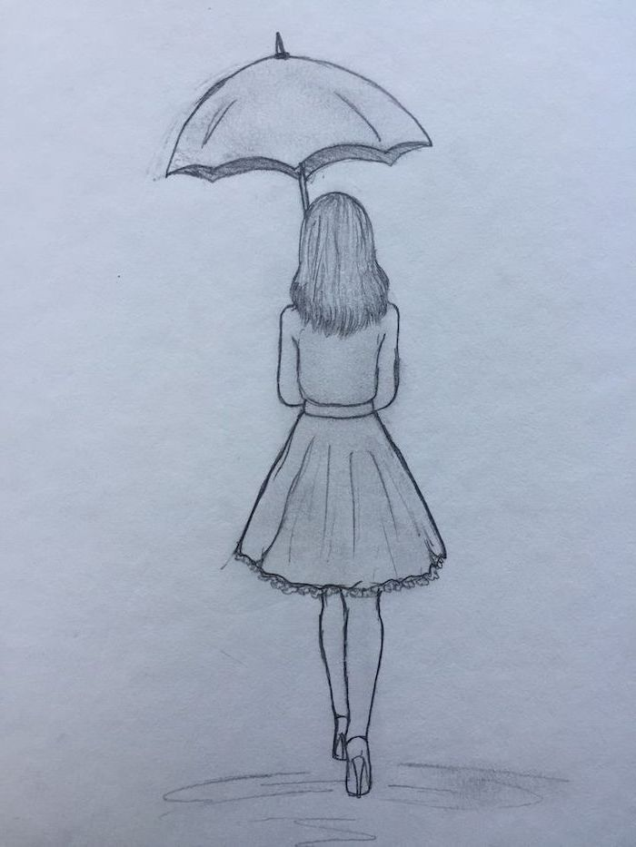how to draw cute things, girl holding an umbrella, wearing skirt heels and blouse, black and white pencil sketch