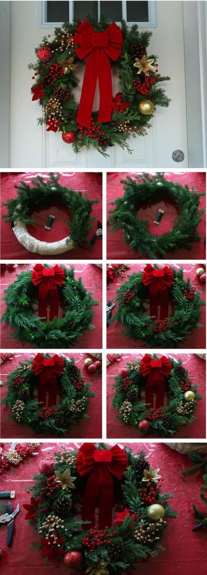 photo collage of step by step diy tutorial, wreath with pine cones, red baubles and berries and red ribbon, front door christmas decor
