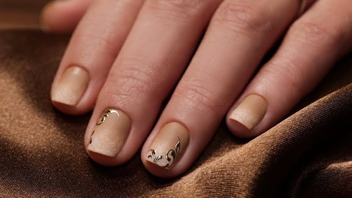 light to dark beige gradient matte nail polish, nude ombre nails, decorations on the middle and ring fingers