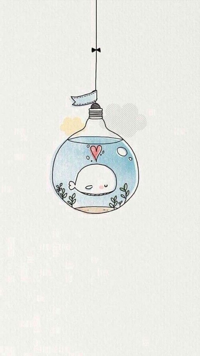 light bulb aquarium, white whale inside with red heart, easy animals to draw, colored drawing, white background