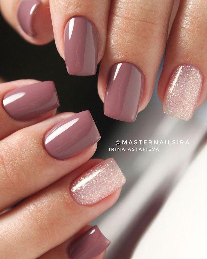 light purple pink nail polish, white glitter on the ring fingers, cute nail colors, short square nails