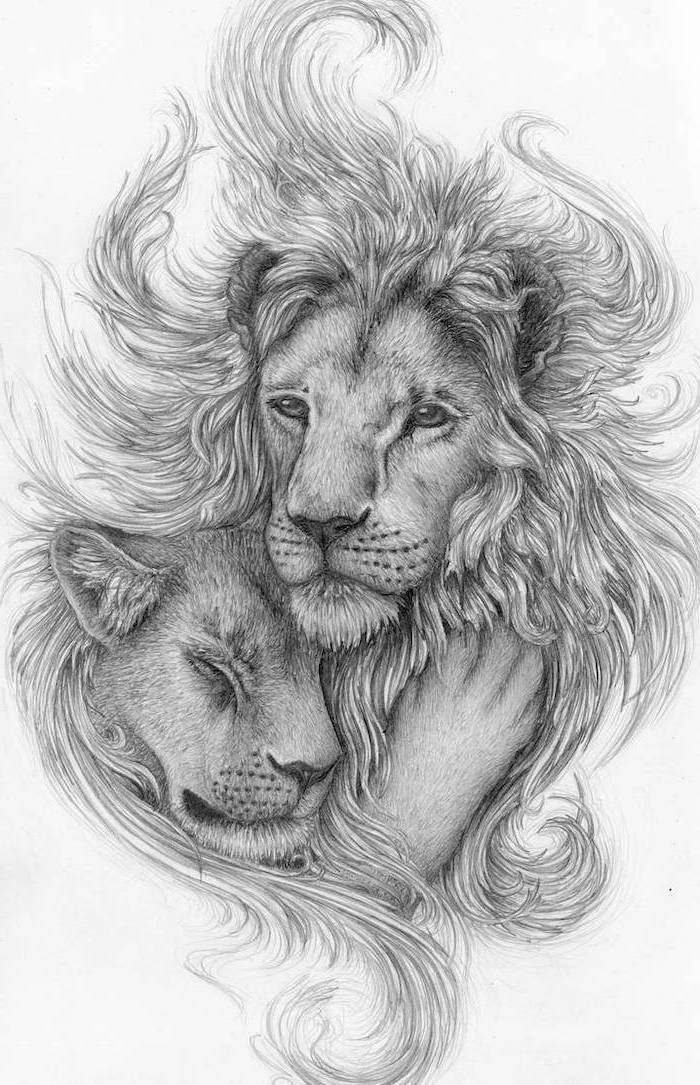 black and white pencil sketch, lion hand tattoo, lion with long mane hugging a lioness, white background