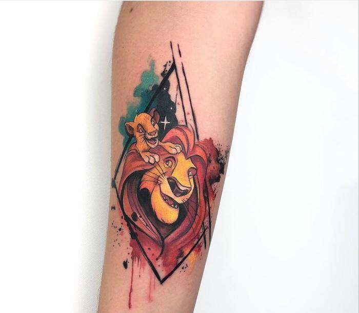 lion king inspired tattoo, simba and mufasa, forearm watercolor tattoo, lion tattoo meaning