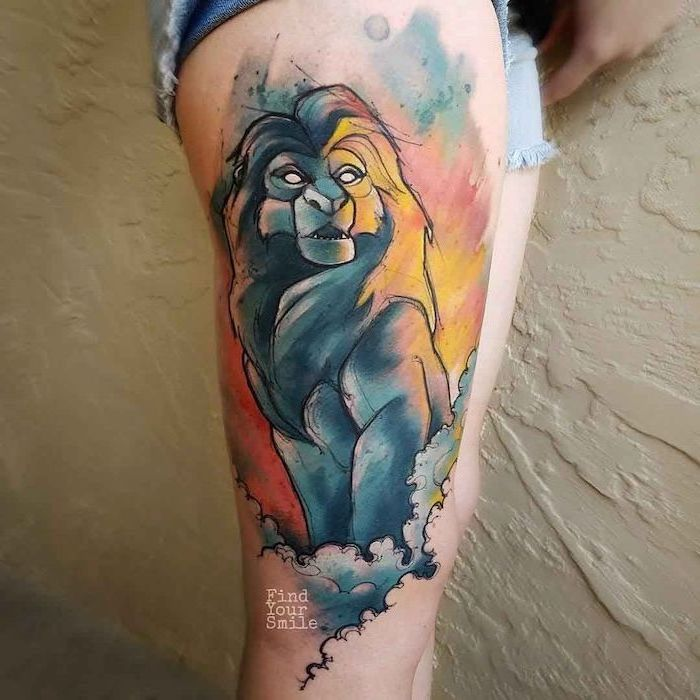 lion king inspired simba tattoo, lion shoulder tattoo, watercolor tattoo, thigh tattoo, on woman wearing short jeans