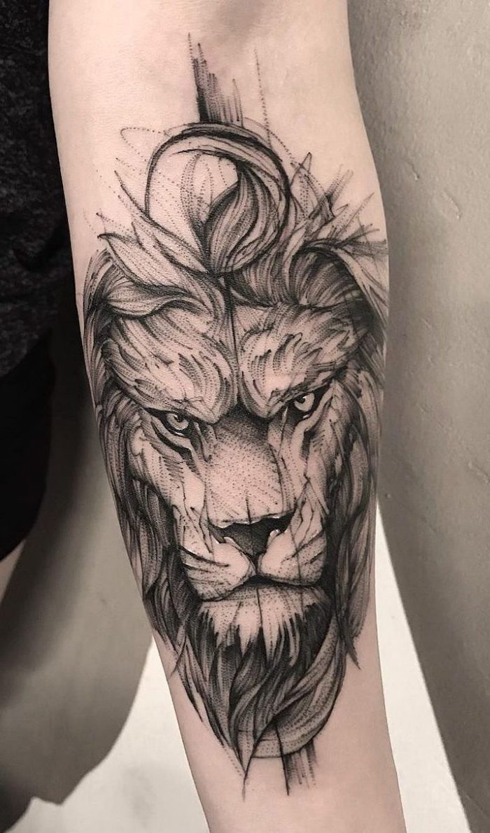 lion with crown tattoo, scary lion head with mane, forearm tattoo, white background