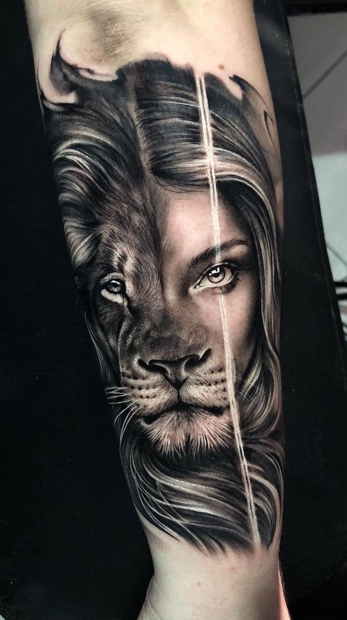 back of arm tattoo, half lion head, half female face, lion with crown tattoo, black background