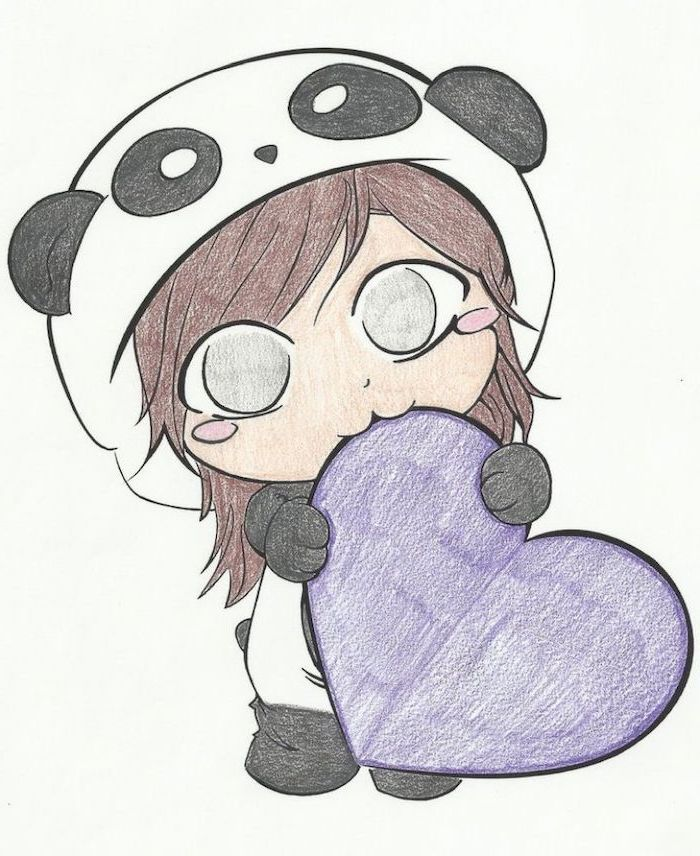 little girl, dressed in panda onesie, holding a purple heart, cute animal drawings, colored drawing on white background