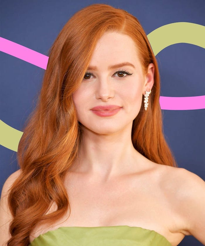 madelaine petsch wearing a green dress, natural auburn hair, hair highlights ideas, long wavy hair