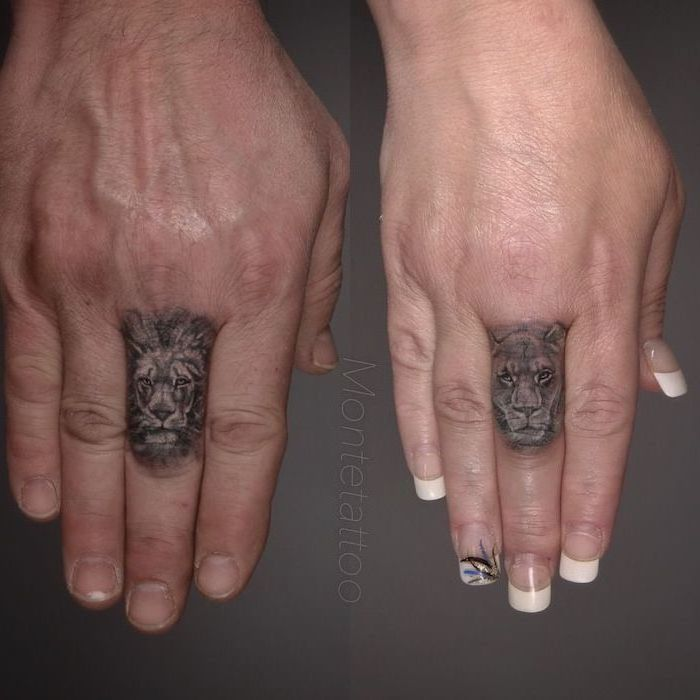 matching couple tattoos, finger tattoos on the middle finger, lion and lioness heads, tribal lion tattoo