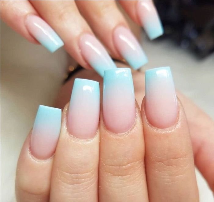 pink to blue gradient nail polish, medium length square nails, ombre coffin nails