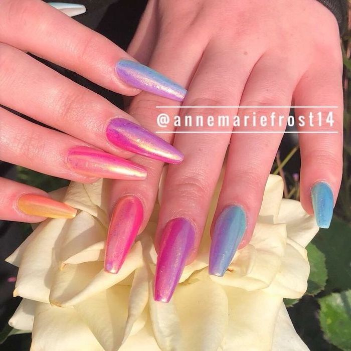 nails with the colors of the rainbow, ombre coffin nails, long coffin nails, different colors nail polish on each nail