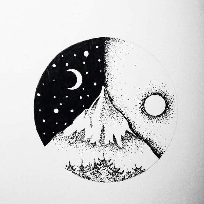 mountain landscape, how to draw cute things, mountain peak during the day and night, black and white sketch