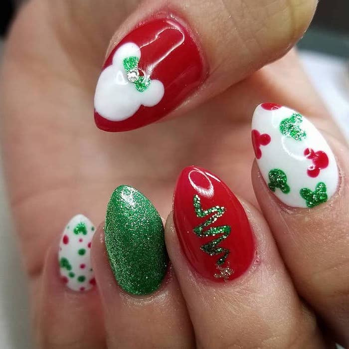 red green and white nail polish, popular nail colors, different christmas disney themed decorations on each nail