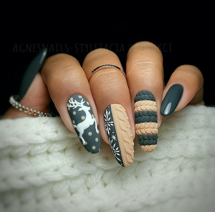 green and beige matte nail polish, cute nail colors, christmas themed decorations, different on each nail