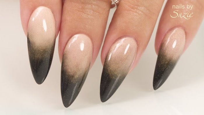 nude to dark green gradient glitter nail polish, blue ombre nails, extra long stiletto nails