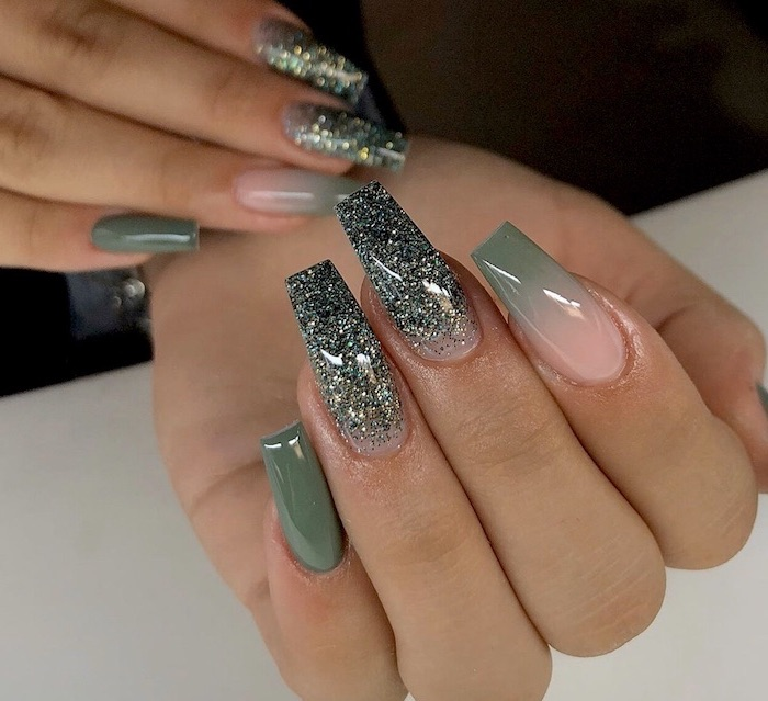green glitter nail polish on ring and middle finger, ombre nail designs, nude to green gradient nail polish on index finger