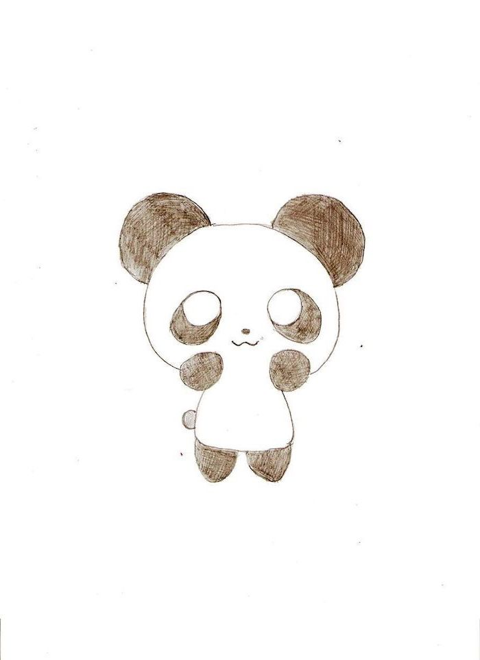 baby panda, black and white pencil sketch, white background, how to draw cute things