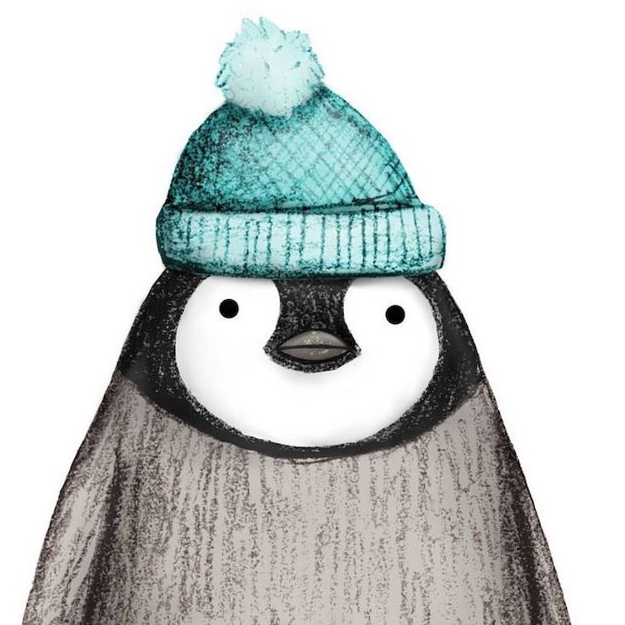 penguin with turquoise beanie, cute animal drawings, colored drawing, white background
