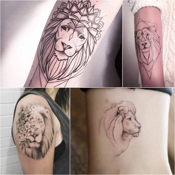 photo collage of different tattoos, tribal lion tattoo, lion head tattoos in different places of the body