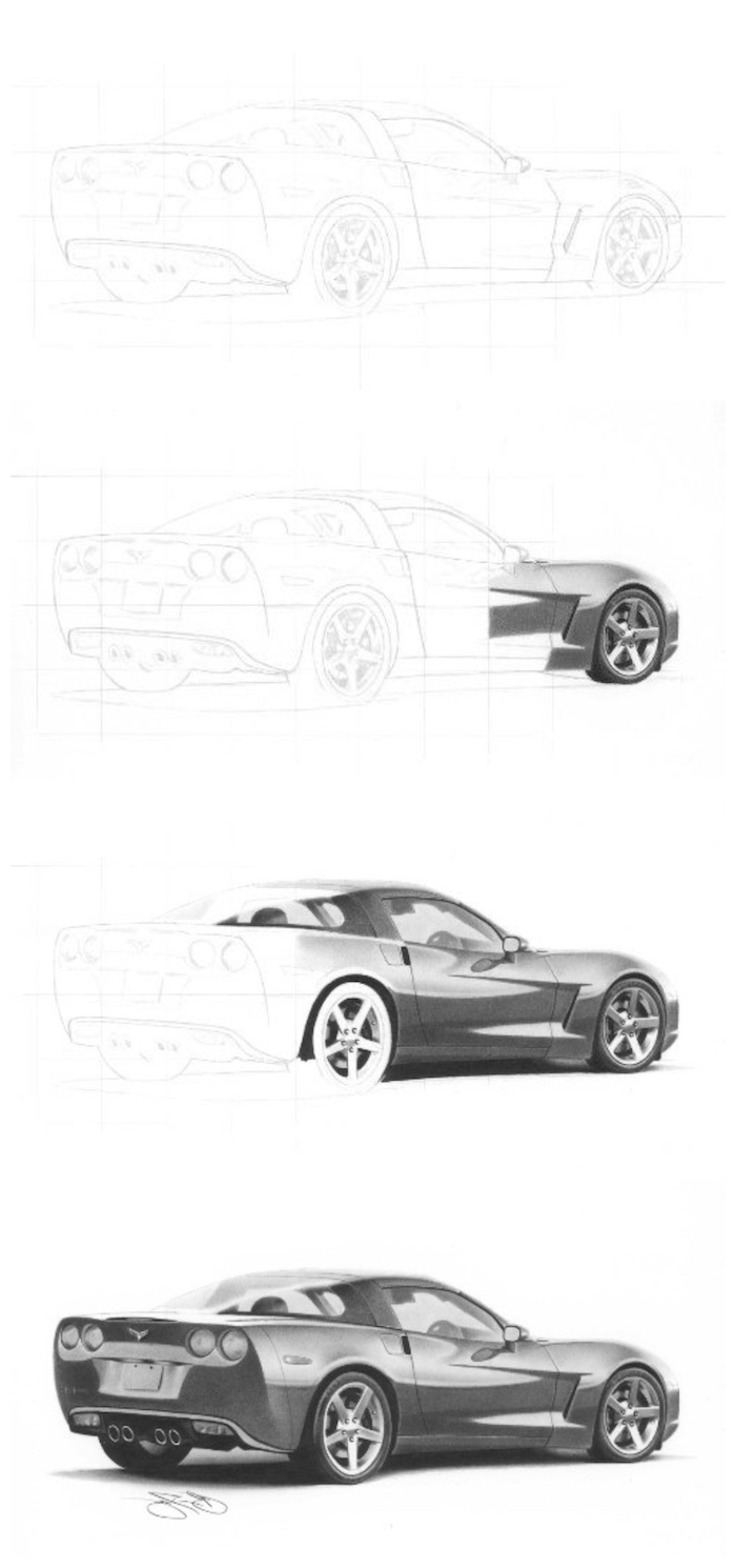 how to draw a car, step by step diy tutorial, cute animal drawings, photo collage, black and white pencil sketch