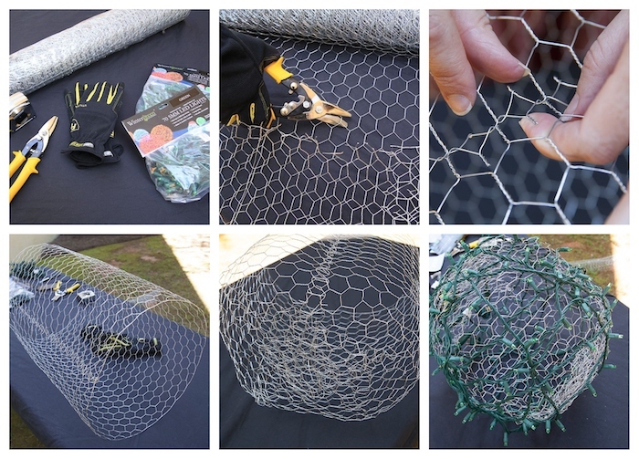 photo collage of step by step diy tutorial, baubles made of chicken wire, outdoor christmas decorations, intertwined with lights