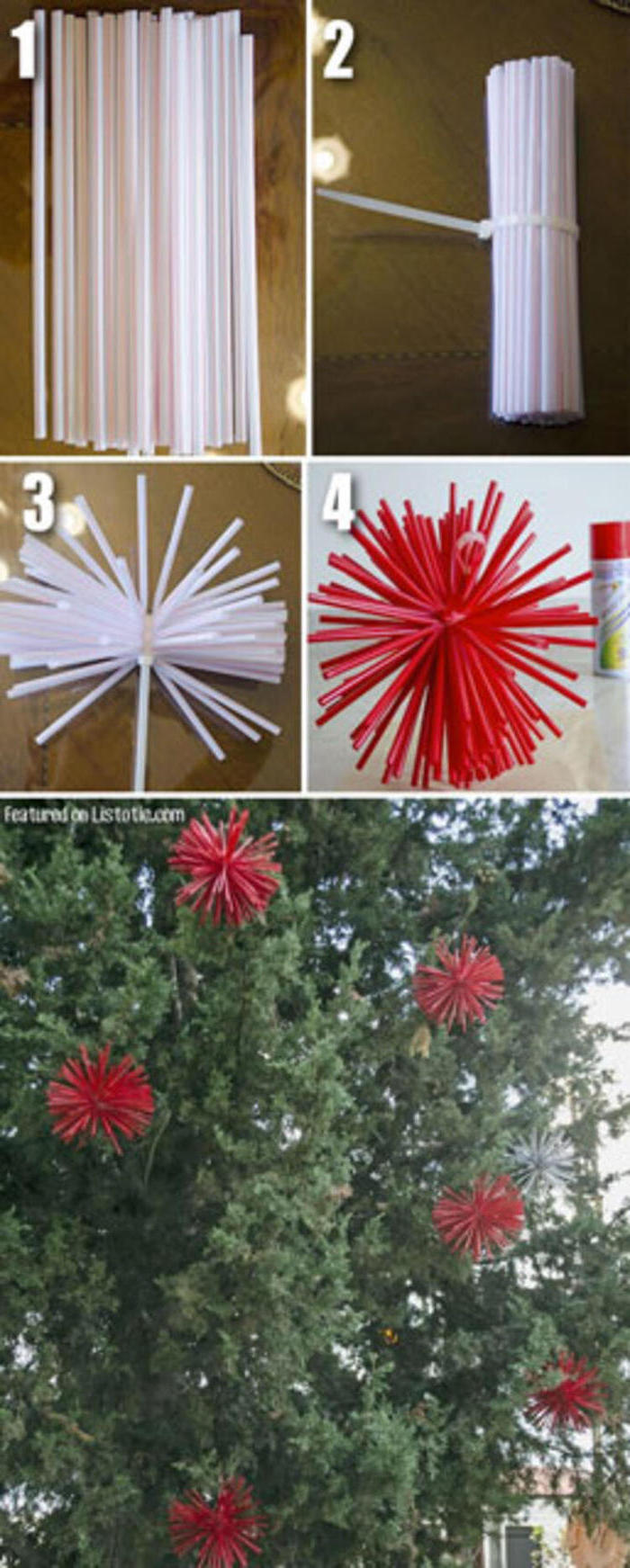 photo collage of step by step diy tutorial, grinch outdoor christmas decorations, tree ornaments made of plastic straws