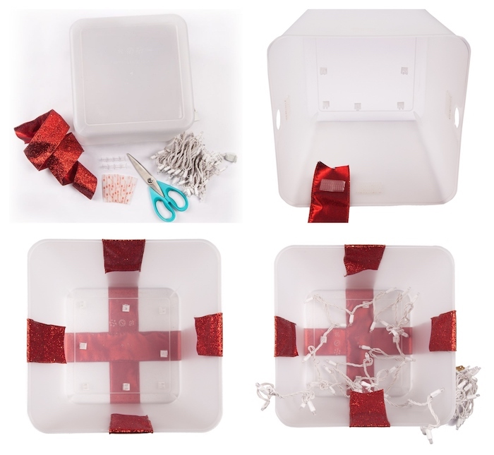 photo collage of step by step diy tutorial, yard decorations, presents made of plastic containers, wrapped with red ribbons
