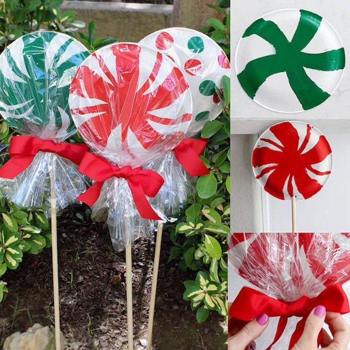 photo collage of step by step diy tutorial, outdoor lighted christmas decorations, paper plate lollipops, tied with red ribbon