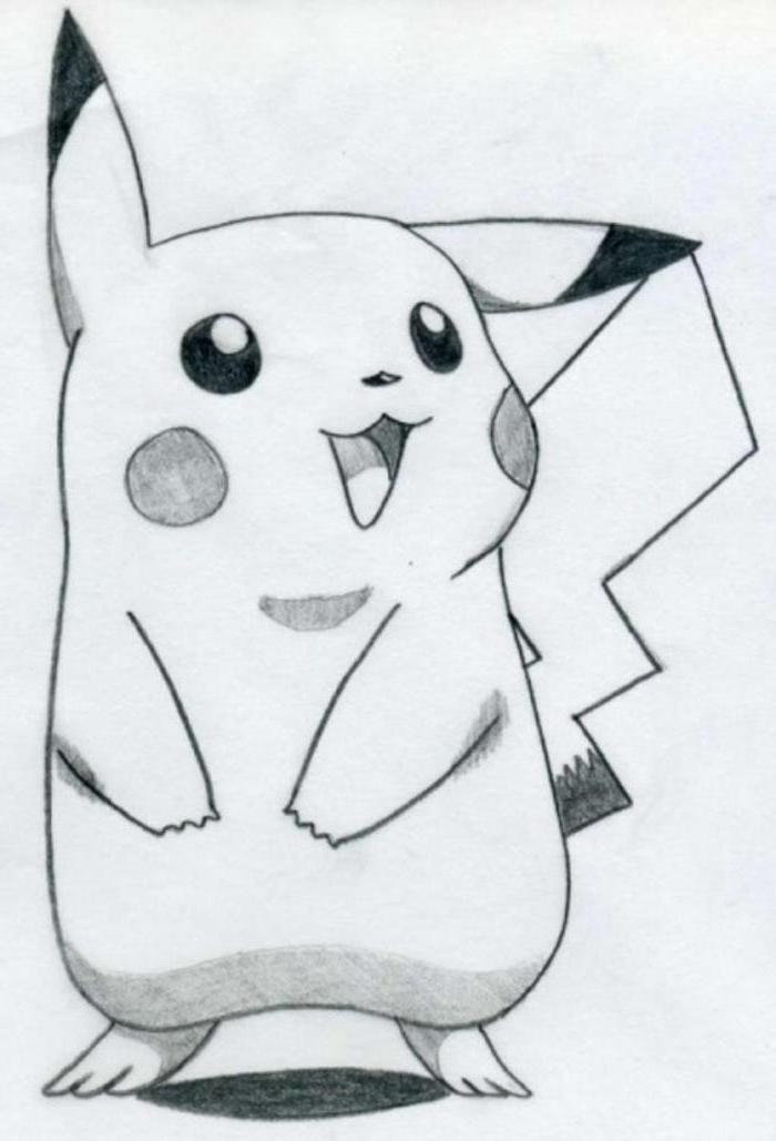pikachu drawing, how to draw cute things, black and white pencil sketch, white background