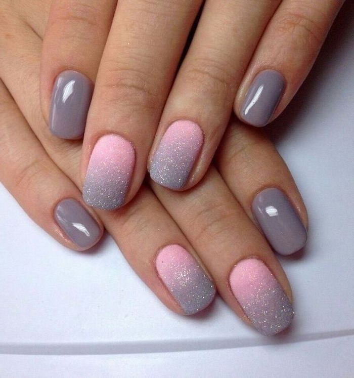 pink to grey glitter matte gradient nail polish, on the middle and ring fingers, french tip acrylic nails, grey nail polish on the rest of the fingers