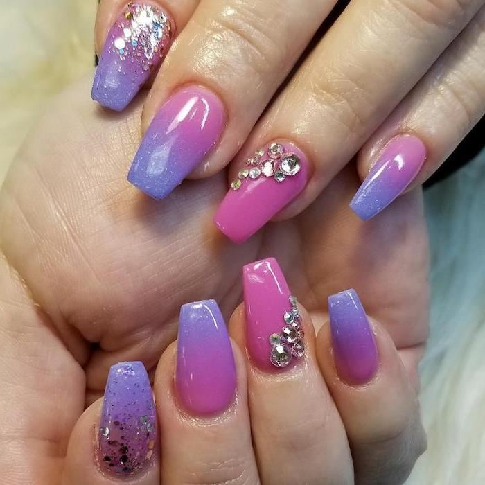 pink to purple gradient nail polish, rhinestones decorations on the ring fingers, french fade nails, glitter on the index fingers
