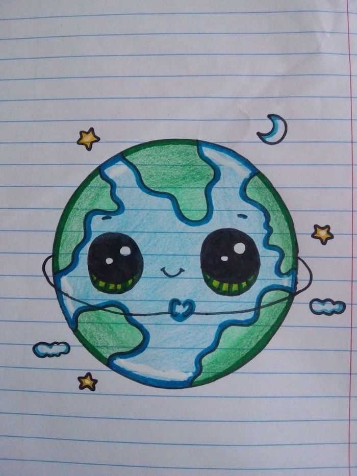 cute drawing ideas, planet earth cartoon with eyes, colored drawing on white background, stars and moon around it