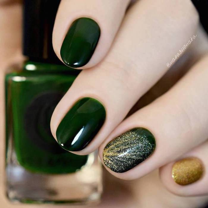 dark green nail polish, nude nail designs, gold glitter on pinky and ring finger, nude nail designs, almond nails