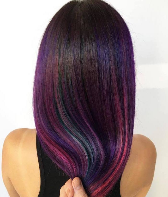 mermaid hair, curly hair color ideas, dark brown hair with purple pink and turquoise highlights, long straight hair