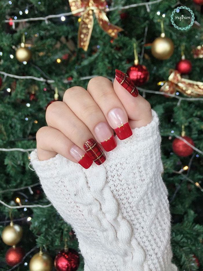 trending nail colors, french manicure with red nail polish, plaid decorations on thumb and ring finger