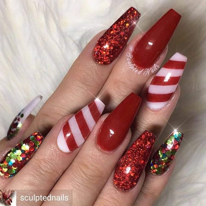 red and white glitter nail polish, trending nail colors, long coffin nails, colorful glitter on pinky and index finger