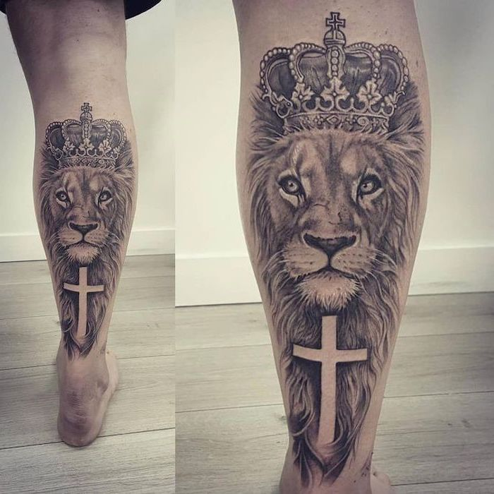 lion tattoos for females, back of leg tattoo, religious tattoo, cross and lion with large mane and crown on its head
