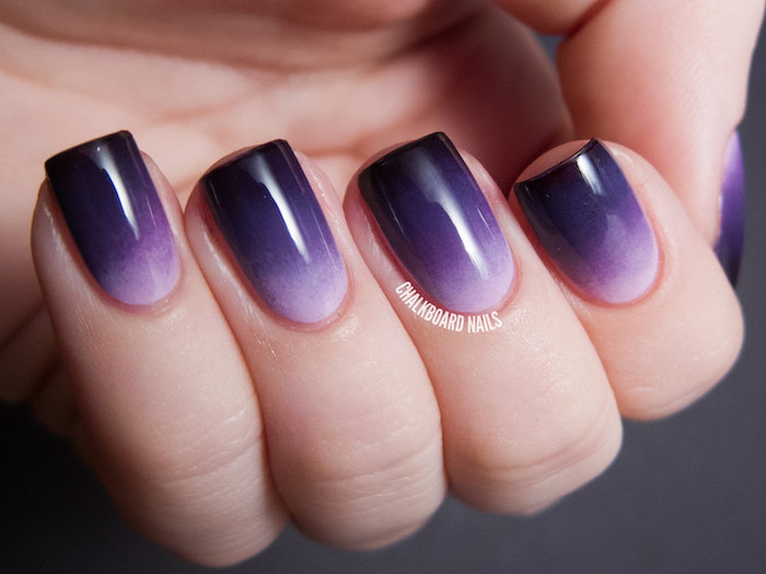 white to light and dark purple gradient nail polish, french ombre nails, short square nails